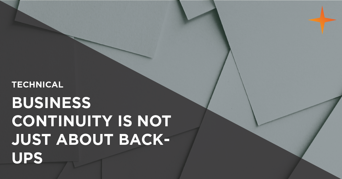 business continuity is not just about backups