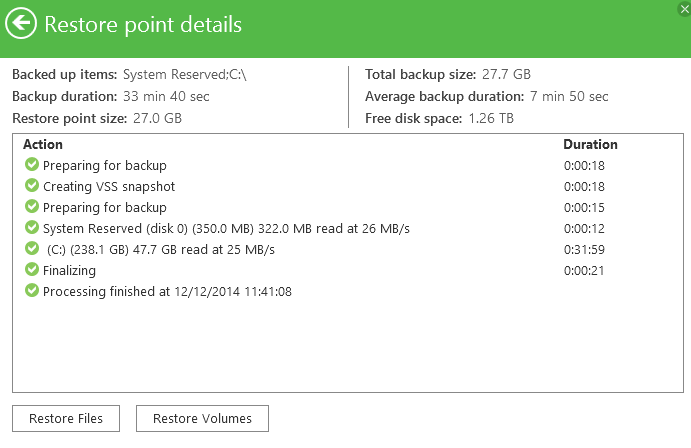 Veeam Endpoint Backup FREE restore point details