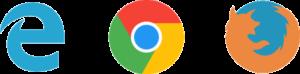 Edge, Chrome and Firefox icons