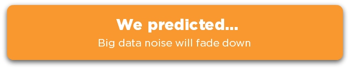 We predicted... Big data noise will fade down