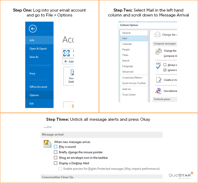 Organise your email inbox by turning off new email alerts