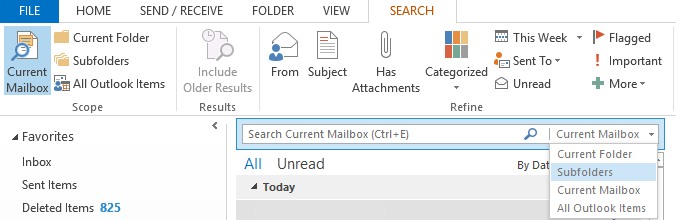 Organise your inbox with the Microsoft Outlook 2013 search bar
