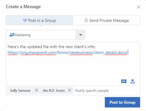 A Yammer message and private messaging