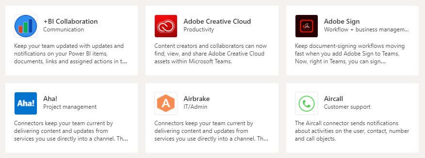 Some of the optional integrations for Teams including Adobe Creative Cloud, Aha!, Airbrake, Aircall and +BI Collaboration.