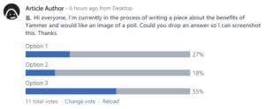 A Yammer poll