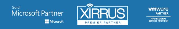 Gold Microsoft Partner Badge. Xirrus Premier Partner Badge. VMWare Professional Service Provider Partner Badge,