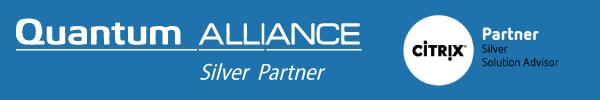Quantum Alliance Silver Partner Badge. Citrix Solution Adviser Silver Partner Badge.